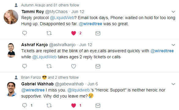 liquid web reviews via twitter