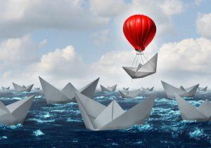 paper boats at sea