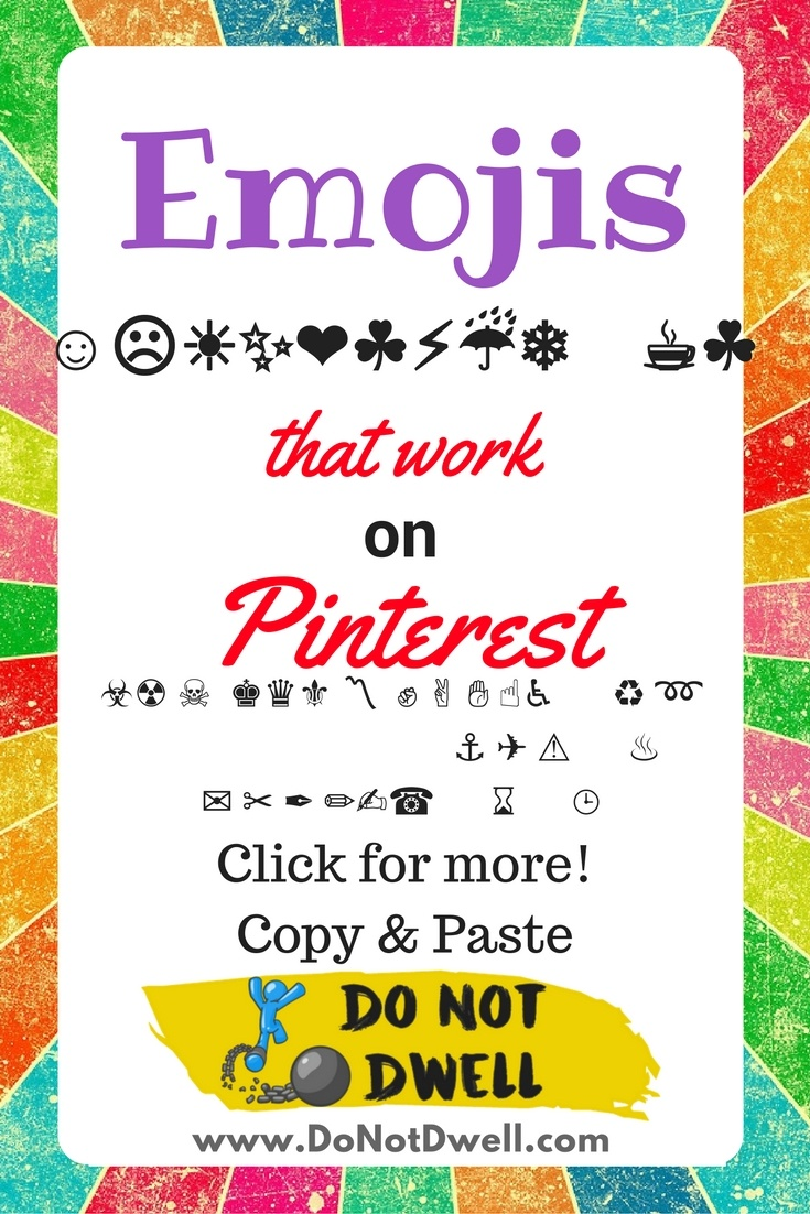 Emojis that work on Pinterest board titles! Emotes, emoticons, icons & special characters!