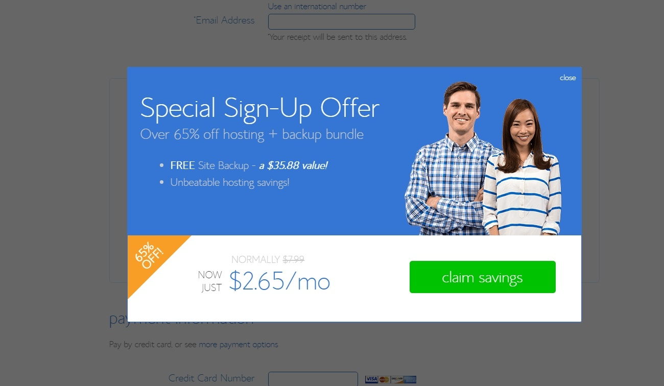 bluehost basic plan checkout offer