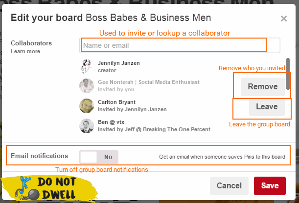 how to turn off group board notifications