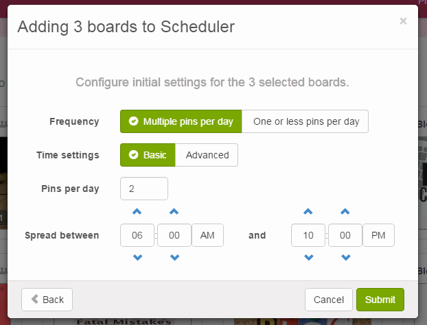 boardbooster scheduling settings
