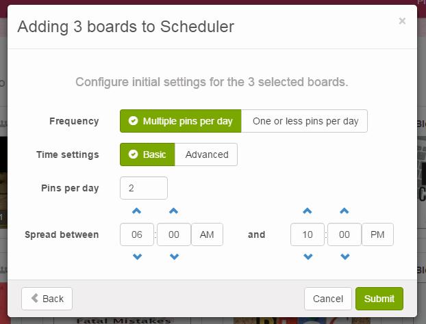 boardbooster scheduling settings