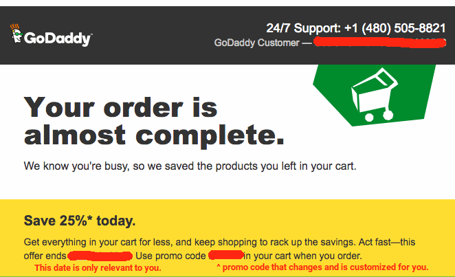 godaddy abandoned cart savings