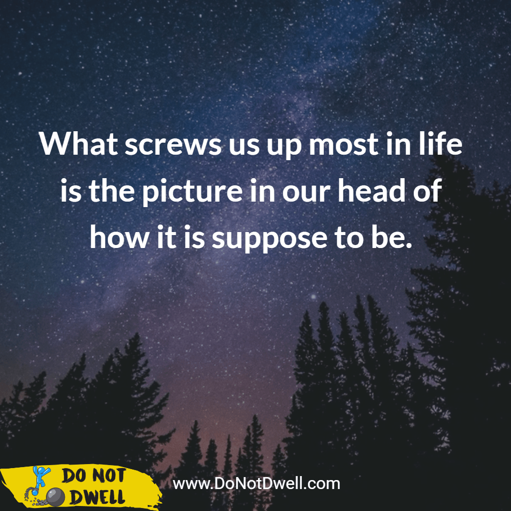 What screws us up the most in life is the picture in our heads of how it is suppose to be